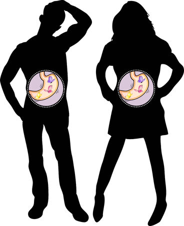 apprehension: Girl and Boy Silhouette with Butterflies in the Stomach. Editable Vector Illustration
