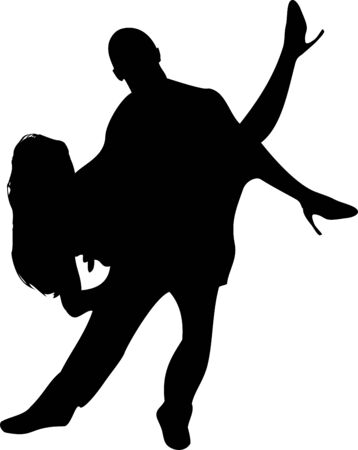 Couple of Dancers Silhouette on white background. Editable  Stock Vector - 6371754