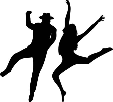 Couple of Dancers Silhouette on white background. Editable Illustration Stock Vector - 6371798