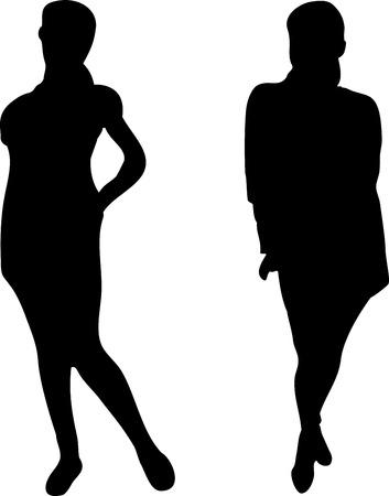 2 Elegant Women silhouettes on white background. Editable Image Vector
