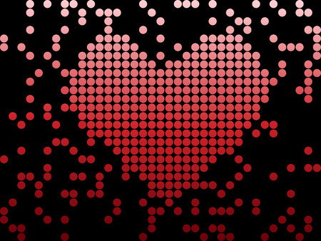 Digital Love Valentines day heart with dots. Editable Image Vector