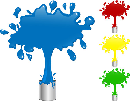 Blue, Red, Yellow and Green Paint Splash Buckets. Editable Illustration Illustration