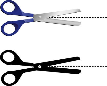 Highly detailed scissors with dots line. Editable Illustration Stock Vector - 6371807