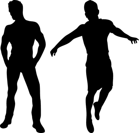 passionate: 2 sexy men silhouettes on white background. Editable Image