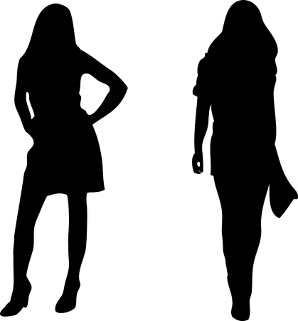 2 sexy Women silhouettes on white background. Editable Image Vector