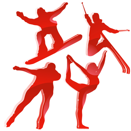 Winter Games Silhouettes in Red. Vector