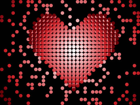 Shiny 3D Dots Red Heart. Editable Vector Image Stock Vector - 6466341