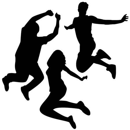 salti: Saltare Silhouettes. 3 Amici saltando. Silhouette vettoriale modificabile