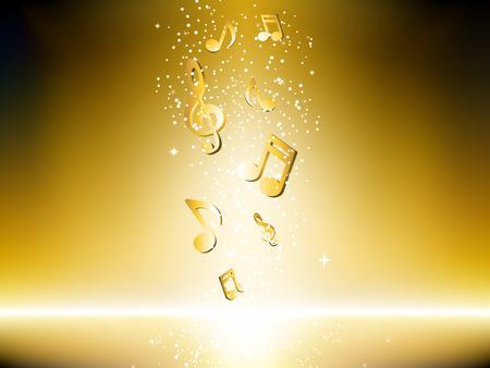 Fondo dorado con notas de música y estrellas.