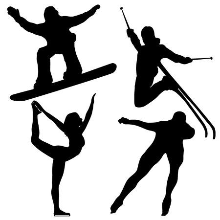 patinaje: Siluetas negras de juegos de invierno.