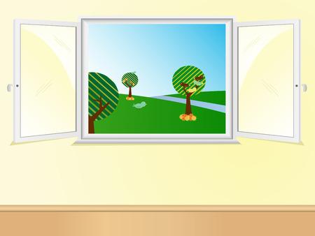 Window open showing beautiful landscape.  Vector