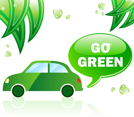 Go Green Ecology Car. Editable Vector Illustration. Stock Vector - 6536985