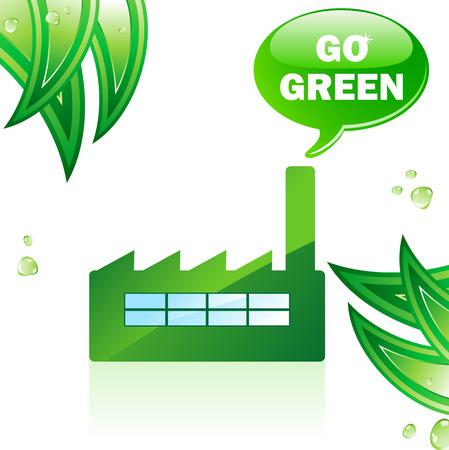 Go Green Glossy Factory. Editable Vector Image Stock Vector - 6536982