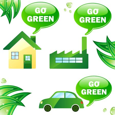 Ecology house, car and industry. Editable Vector Image photo