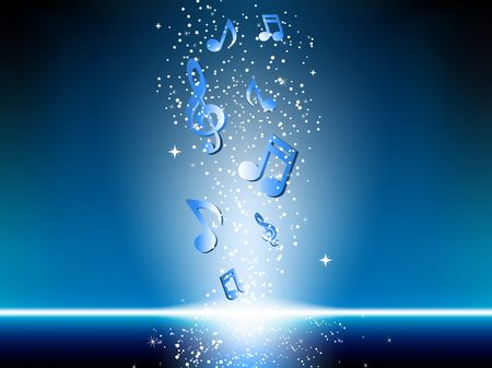 music instrument: Blue background with music notes and stars. Editable Vector Image