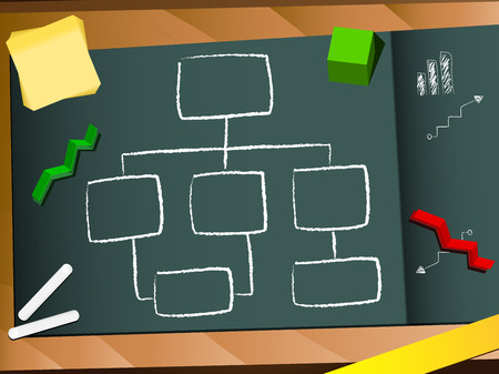 Organization chart blackboard and chalk background. Editable  Image Vector