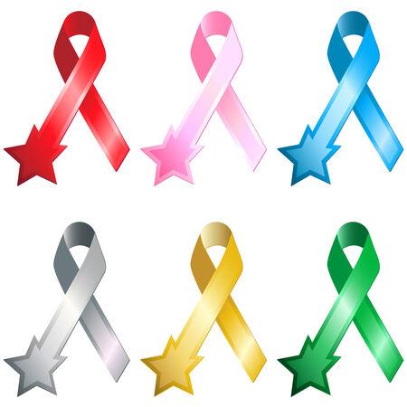 hiv awareness: Set of 6 Ribbon with Star. Editable Image Illustration