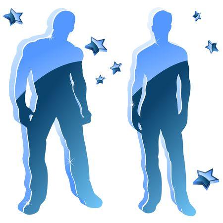 leg muscle: Chico sexy azul brillante siluetas con estrellas.