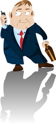 Worried Businessman holding telephone. Editable Illustration Stock Vector - 6892375