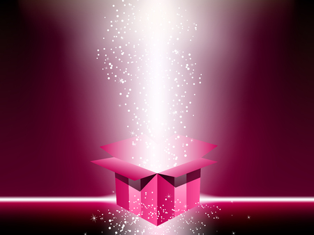 Pink gift box with stars.  Vector