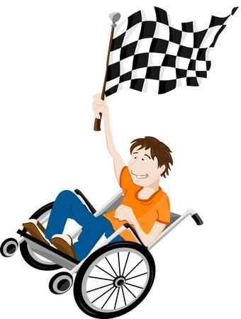 Jonge gehandicapte man in een rol stoel met een vlag van de winnaar.  Vector Illustratie