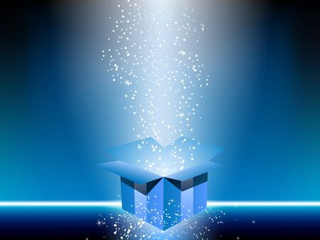Blue gift box with stars.  Vector