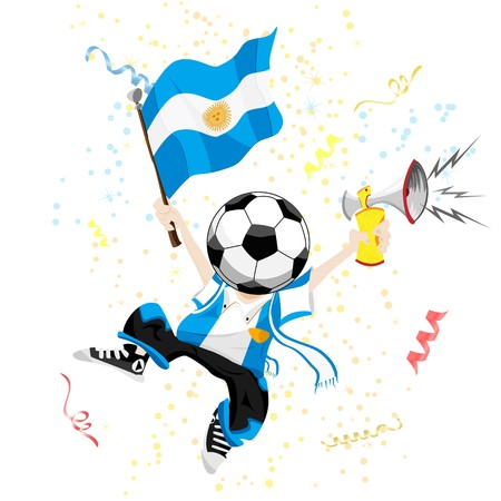 Argentina Soccer Fan with Ball Head. Vector