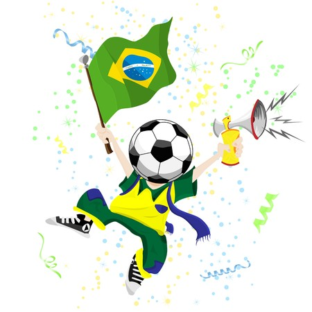 Brazilian Soccer Fan with Ball Head. Vector