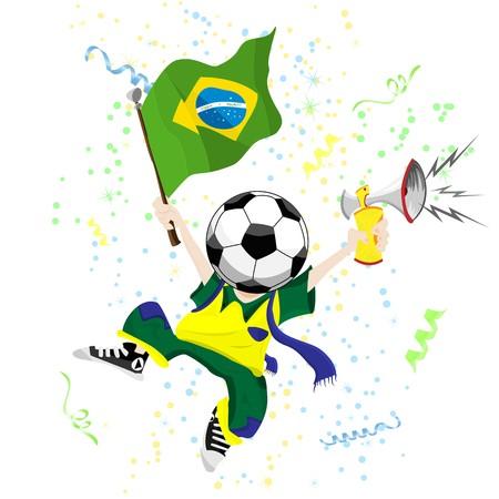 world cup: Brazilian Soccer Fan with Ball Head.