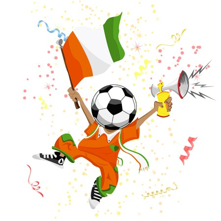 Cote d'Ivoire Soccer Fan with Ball Head.  Stock Vector - 6892401
