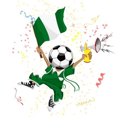 Nigeria Soccer Fan with Ball Head. Vector