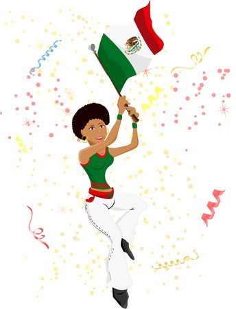 Black Girl Mexico Soccer Fan with flag.  photo
