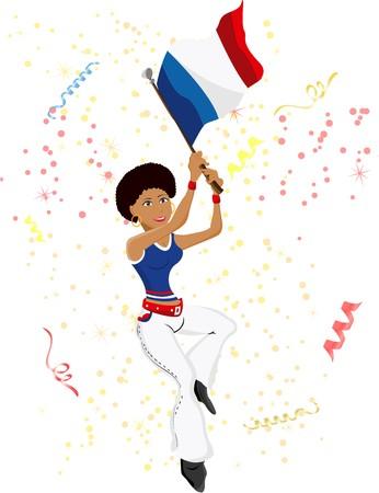 Black Girl France Soccer Fan with flag.  Vector