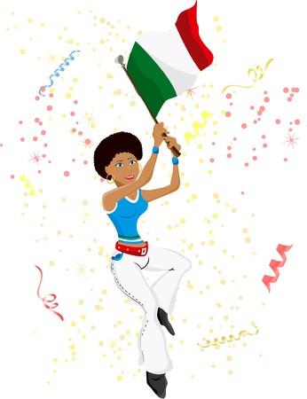 Black Girl Italy Soccer Fan with flag. Illustration