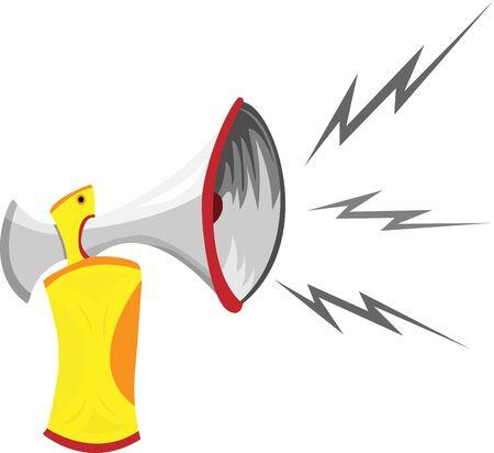 Air Horn Cartoon Isolated on White. Ilustração Vetorial