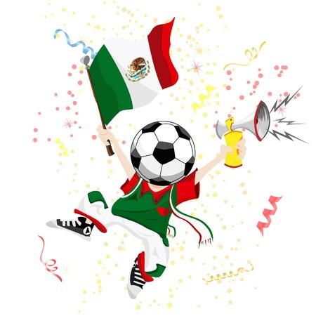 mexican flag: Fan di calcio Messico con la palla di testa.  Vettoriali