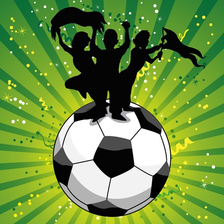 Crowd Celebrating Soccer Game on Ball.  Vector