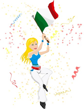 Italy Soccer Fan with flag. Vector