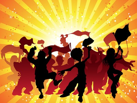 fan dance: Crowd with flags and confetti celebrating. Editable Illustration Illustration