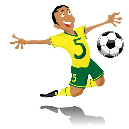 footballer: Black Soccer Player Celebrating Goal.  Illustration