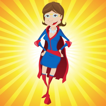 supergirl: Super Woman Mother Cartoon with Yellow Background. Editable Illustration