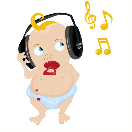 music listening: Cute Baby Listening to some music. Editable  Illustration