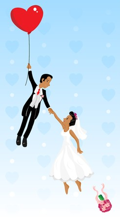 Just married black couple flying with a heart shaped balloon. Highly detailed  image. Vector