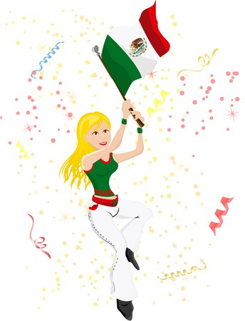 Mexico Soccer Fan with flag. Editable  Illustration Vector