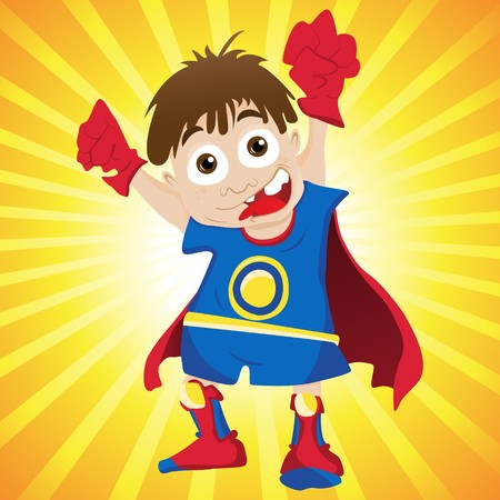 Super  Boy. Editable  Illustration Vector