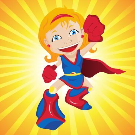 superwoman:  Girl. Editable  Illustration