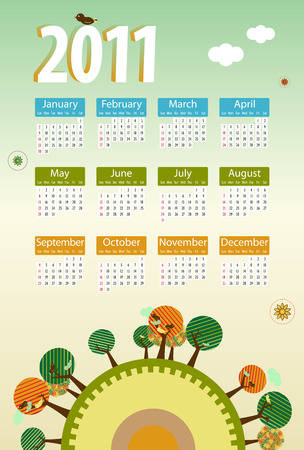 Calendar 2011 environmental retro planet with trees,birds,flowers and clouds. Vector