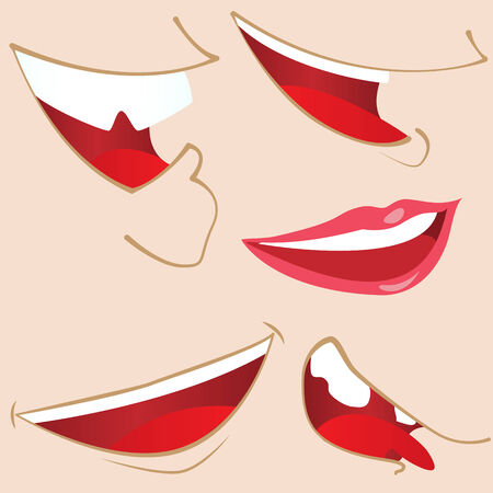 Set of 5 cartoon mouths.  Stock Vector - 7078169