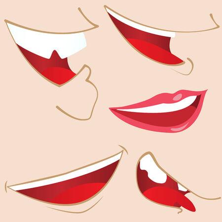 Set of 5 cartoon mouths. Stock Vector - 7078169