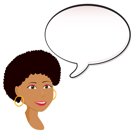 afro girl: Black Woman announcement with speech bubble.  Illustration